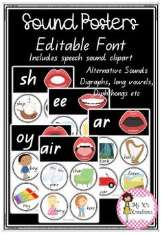This resource includes 39 speech sound posters in a clear and easy to read format. Each poster shows the sound, an image showing how their mouth looks when making the sound and 4 images that begin with the sound or has the sound in the word. This product is completely editable, allowing you to custo... 4 Images, Image Shows, Phonics, Clip Art, Posters, Words, Easy, How To Make, Poster