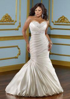 Bling Brides Sweetheart Mermaid White Satin Ruffles Appliques Beaded Plus  Size Women Wedding Dresses Bridal Dresses Plus Size Bridal Gown Item  specifics ... b5016dc81e43