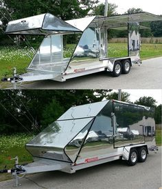 The video consists of 23 Christmas craft ideas. Diy Camper Trailer, Trailer Build, Camper Caravan, Car Trailer, Utility Trailer, Motorcycle Trailer, Motorcycle Camping, Camping Car, Tienda Pop-up
