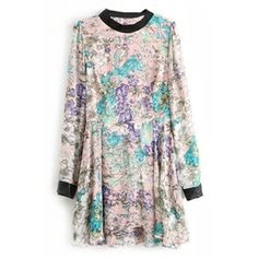 Panel Faux Leather Buttoned Floral Print Dress | pariscoming