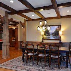 Large Dining Area with Coffered Ceiling #customhome #luxury #diningroom #mountainhome #rustichomes #homeadore #lifestyleguide #southernstylehomes #vpcbuilders http://ow.ly/RczPq