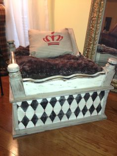 REPURPOSED DOG BED... My repurposed end table is now my sweet Buffy's bed :)
