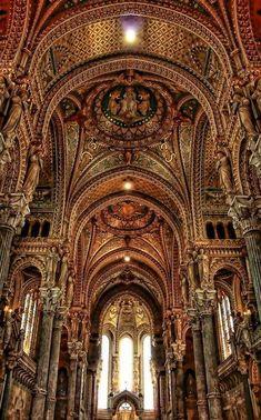 Basilica of Notre-Dame de Fourvière (Our Lady of Fourvievre) in Lyon, France Cathedral Architecture, Gothic Architecture, Beautiful Architecture, Beautiful Buildings, Beautiful World, Beautiful Places, Lyon France, Paris France, Templer