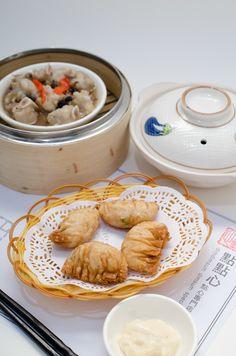 Dim Sum ~ deep - fried pork , shrimp dumplings