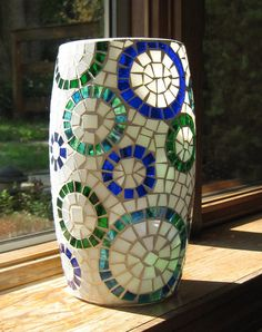 Stained Glass Mosaic Vase in White Blue & Green