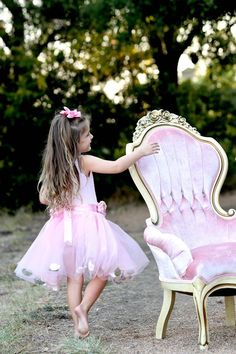 Rent My Dust Priscilla Pink Chair and Precious Little Girl Ballerina Birthday Photo Shoot by Angela Majerus Photography