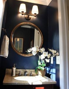 1000 images about half bath makeover on pinterest navy for Navy bathroom wallpaper