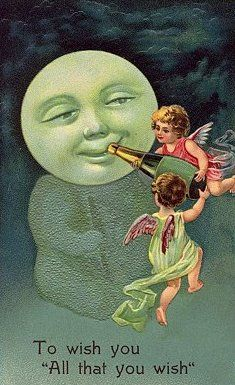 "To wish you "" All that you wish""   Angels Giving Champagne to the Moon Vintage New Year Postcard"