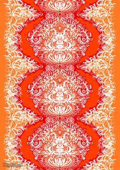 Mandariini by Tanja Orsjoki - Vallila Interior Ikea Fabric, Marimekko, Science Art, Halle, Fractals, Fabric Design, Printing On Fabric, Print Patterns, Vintage Fashion