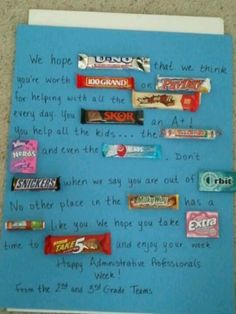Candy poem for the school secretaries for Administrative Professionals Week!