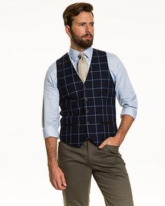 Windowpane Check Contemporary Fit Vest - A windowpane check vest is a stylish addition to your suiting coordinates, or perfect as a stand-alone piece. Workout Vest, Fashion Vest, Mens Fashion, Suit Vest, Contemporary, Suits, Stylish, Fitness, Third