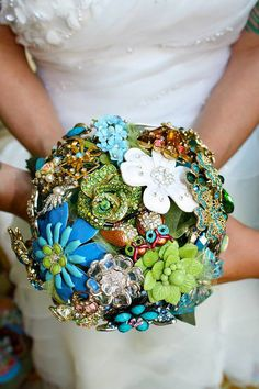 The bouquet was made of brooches. Photo by Alisha Sams of Imaginarium Studios and Kory Garner of Faux Toe Images via Equally Wed