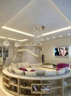 Italian living room interior design with unique round sofa and bookcase with modern ceiling Italian Living Room, Plafond Design, Round Sofa, Round Sectional, Bunk Bed Designs, Dream Rooms, Luxury Living, Home And Living, Living Rooms