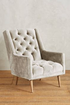 Slide View: 1: Slub Velvet Booker Armchair