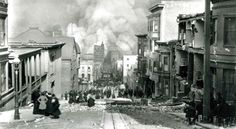 Looking Down Sacramento Street (San Francisco,1906)    This photo was taken on April 18th, 1906. It is the most famous photograph of the devastation caused by the great fire and earthquake. It was taken by Arnold Genthe on a borrowed camera.