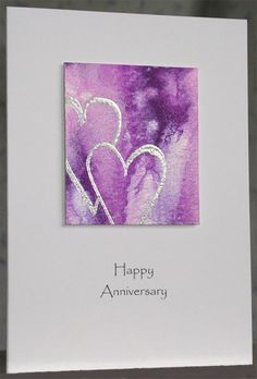 145. Handpainted hearts card #handmade #anniversary #hearts