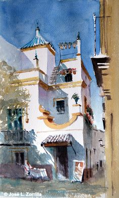 Drawing Sketches, Drawings, Sketching, Sevilla Spain, Building Drawing, Watercolor Paintings, Watercolours, Painting Tips, Gouache