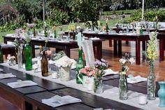 Botellas de vidrio decoración mesas