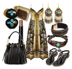 """Black&Gold Boho"" by amina21093 on Polyvore featuring Avon, Pussycat, Bling Jewelry, Bobbi Brown Cosmetics and Yves Saint Laurent"