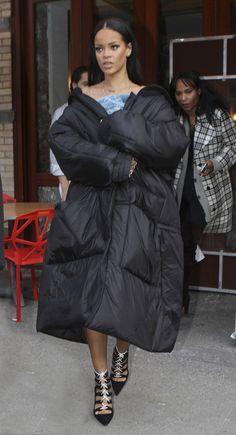 Rihanna takes the XXXL duvet coat trend to the next level. Obviously.