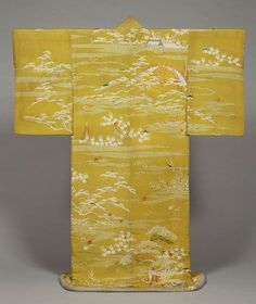 Kosode (Short-Sleeved Kimono) with Scenes of the Imperial Palace Garden on Yellowish-Green Crepe (Chirimen) Ground.1800-1868, Japan. Kyoto National Museum