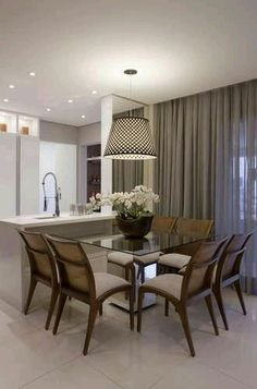 Apartamento tem salas de jantar e estar em varanda de 32 m² - Terra Brasil in 2020 Dinner Room, Interior Design Boards, Decoration Table, Home Living, Living Room, Dining Room Design, Home Decor Trends, Decor Ideas, Apartment Design