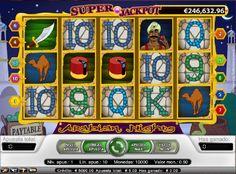 Arabian Nights Tragaperras - Super progresivo Jackpot que puedes ganar con el Arabian Night! Tragaperras de cinco rodillos y 10 líneas de pago.Juega Arabian Nights Tragaperras  - http://www.tragamonedas-paraiso.com/juegos/arabian-nights-tragaperras
