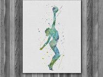 Gymnastics watercolor painting Printable Art