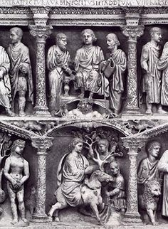 Detail from the Sarcophagus of Junius Bassus.   Treasury of St Peter's, Vatican City