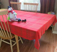 Scandinavian Christmas Tablecloth Rectangular Red by CoconutRoad
