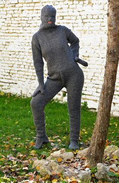 Designer Hand Knitted Wool Catsuite Sweater Massive Gray Fuzzy Hooded GreyBodysuit Integrated Mittens Jumper Pure Wool by Extravagantza Chunky Knit Cardigan, Fashion Project, Online Clothing Boutiques, Knitting Accessories, Yarn Colors, Sweater Fashion, Catsuit, Wool Sweaters, Crochet Clothes