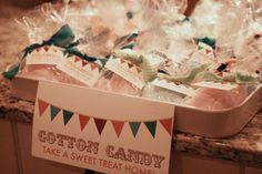 cotton candy favors for a circus baby shower