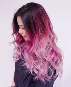 75 Pastel Hair Colors That Soften and Brighten Your Looks pastel ombre hair - Ombre Hair Long Pink Hair, Pink Ombre Hair, Purple Ombre, Ombre Colour, Brunette Ombre, Hair Color Pink, Cool Hair Color, Hair Colors, Hair Highlights