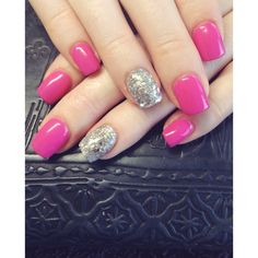 Pink and Silver Glitter Acrylic Set