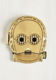 Better your galaxy of accessories by including this metallic gold coin purse in your collection! Embroidered to render the face of our favorite droid, this vegan faux-leather pouch will employ itself to assist you with smooth transactions.