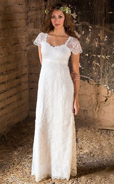 Unique Elegant and Simple wedding dress Embroidered tulle over silk charmeuse Empire waist Casual Wedding Dress Plus size available