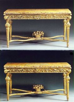 A fine pair of Italian carved giltwood console tables, Roman, circa 1770,   92cm. high, 180cm. wide, 86cm. deep; 3ft. Nin., 5ft. 11in., 2ft. 10in.