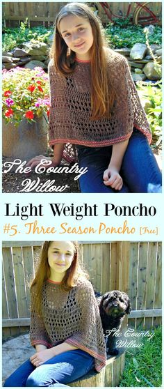 Crochet Three Season Poncho Free Pattern-Light Weight Spring Summer #Poncho; Free #Crochet; Patterns