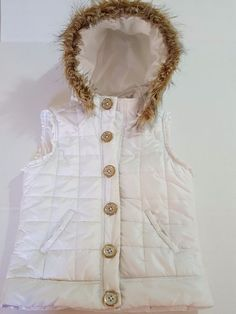 96f7e264e34 Justice Puffer Vest Sz 12 Girls Youth White Removable Hood Faux Fur Snap  Front