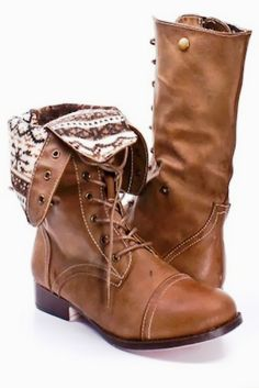 Taupe faux leather lace up fold over combat boots fashion
