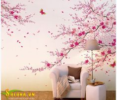 Cherry Blossom Wall Decal-Pink Flower Wall Sticker-Butterfly Wall Art-Vinyl Cherry Blossom Decals For Living Room-Florals Wall Murals Room Wall Painting, Mural Wall Art, Wall Paintings, Butterfly Wall Art, Flower Wall, Wall Stickers Home Decor, Retro Home Decor, Girl Room, Decoration