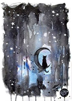 watercolor, ink on paper Black kitty in the night Soul Friend, Kinds Of Story, Black Moon, Hocus Pocus, Art Pictures, Photos, Amazing Art, Cute Cats, Moose Art