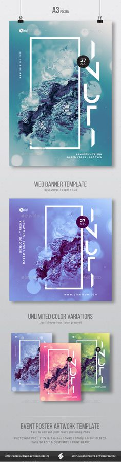 Creative abstract poster artwork templateAbstract fantasy design party flyer template suited for different genres of electronic music parties like minimal, techno, tech-house, progressive house, dubstep, chillstep, drum and bass, liquid funk, soulful, electro
