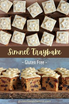 Simnel Traybake offers perfect squares of moist traditional Simnel Cake. Ideal for sharing and for bake sales. #glutenfree #dairyfree #simnelcake #traybake #easter #baking #fruitcake #marzipan via @gfalchemist Gluten Free Cakes, Gluten Free Recipes, Traybake Cake, Cake Decorated With Fruit, Simnel Cake, Tray Bake Recipes, Easter Recipes, Easter Food, Baking Tins