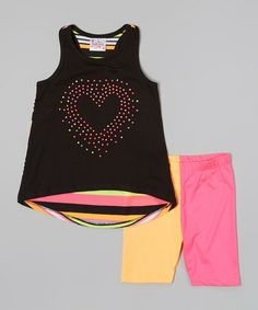 Look what I found on #zulily! Black & Neon Heart Tunic & Shorts - Infant, Toddler & Girls #zulilyfinds