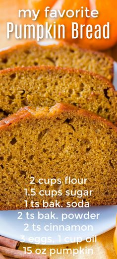 Our go-to recipe for pumpkin bread. It& crazy easy - mix the wet ingredients, mix the dry ingredients and combine. This is super moist and you can freeze it. Everyone loves this pumpkin bread recipe! Delicious Desserts, Dessert Recipes, Pumpkin Dessert, Pumpkin Pumpkin, Pumpkin Puree, Pumpkin Cheesecake, Pumpkin Spice, Dessert Bread, Chocolate Chip Muffins