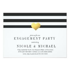 Gold Foil Heart + Stripes Engagement Party
