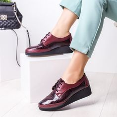 Pantofi Piele dama visinii cu platforma Sisoli