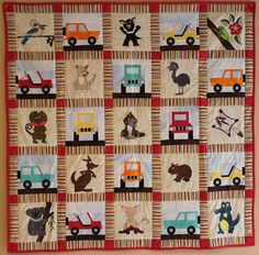 (7) Name: 'Quilting : Open-Roofed Jeep  Paper-Pieced Block