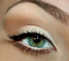 Super simple bright eyes. White, cream, & taupe from Lorac Pro Palette would work for this.
